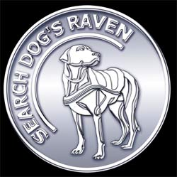 coin card logo.  White metal with an embossed search dog.